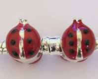 2 ENAMEL 9x11MM LADYBUG Large hole BEADS